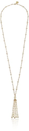 "UPC 642447098891, Anne Klein ""Debutante Chic"" Gold-Tone Pearl and Crystal Bezel Set Accents Tassle Y-Shaped Necklace, 36"""