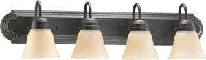 (Quorum International 5094-4-344 Vanity Lights with Amber Scavo Shades, Toasted Sienna)
