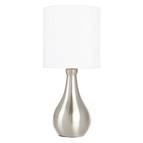 POPILION Simple Design Metal Brushed Nickel Bedroom Living Room Bedside Table Lamp, White Fabric Shade Round Table Lamp