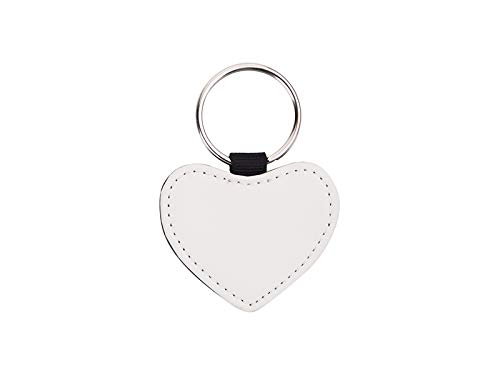 Leather Heart Keychain Sublimation Blank White Heat Transfer 10 PCS. 4,5 X 5cm 2'' X 1,75''