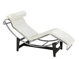 Fine Mod LC4 White Pony Chaise Lounge Chair