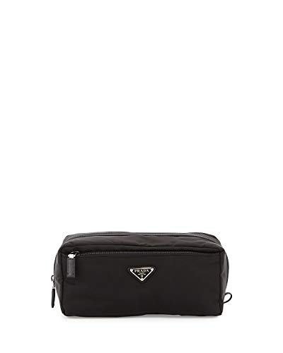 Prada Jumbo Unisex Toiletry and Cosmetics Travel Zippered Pouch Case Bag in Tessuto Nylon and Saffiano ()