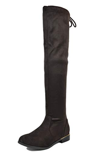 DREAM PAIRS Women's Upland Brown Suede Over The Knee Thigh High Winter Boots - 9 M US (Suede Boots High)