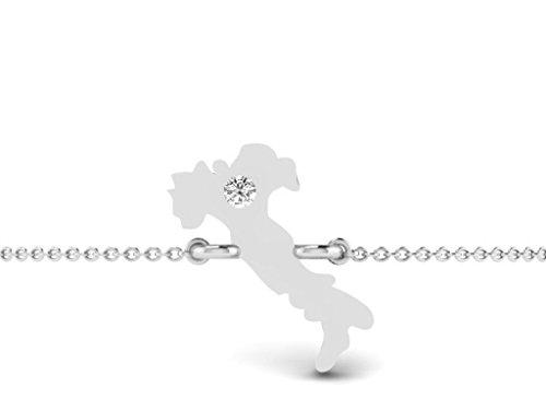 Or Blanc 14 ct Bracelet Diamant en forme de Carte, 0.01 Ct Diamant, GH-SI, 1.11 grammes.