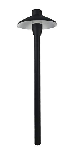 """LUMiON Outdoor Lighting Classic AL LED 7"""" Hat/Shade (Solid Aluminum) Path/Area Light Black Finish 15"""" Stem Low-Voltage 3 Watt 3000K LED Lamp and 2 Water Resistant Grease Filled Wire Connectors - Construction: Aluminum Finish: Black Powder Coat Finish Hat: 7"""" Stem: 15"""" - patio, outdoor-lights, outdoor-decor - 21u%2BDj12ggL -"""