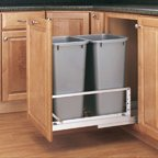 Bottom Mount Trash Pull-Outs with Soft-Close, 14-13/16''W x 21-7/8''D x 19-1/4''H, White/Aluminum, Alum./100 lb, 35 qt, No Lid-White, 14 lb.