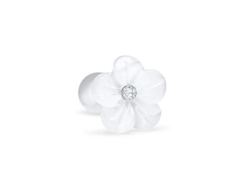 Surgical Steel 316L Bridesmaid Valentines Mother'S Day Gifts Simluated Diamond Cz White Flower Mother Of Pearl Jewelry Ear Stud Barbell Ball Piercing For Women Girls hypoallergenic