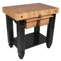 American Heritage Gathering Block II Prep Table with Butcher Block Top Base Finish: Caviar ()
