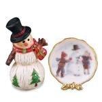 Melody Jane Dollhouse Miniature 1:12 Scale Reutter Porcelain Snowman & Plate Christmas Accessory