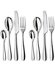 Alessi Nuovo Milano Cutlery - 8 Piece Table Setting - 2 Full Place Settings - Premium Quality Stainless Steel Cutlery Set -18/8 Stainless Steel - 2x Forks 2x Knives 2x Spoons 2x Tea Spoons (Flatware Alessi)