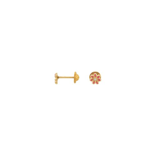 14K Yellow Youth Enameled Floral-Inspired Earrings