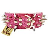 "19""-23.5"" Pink Faux Croc Leather Spiked Dog Collar 2"" Wide, 40 Large Spikes"