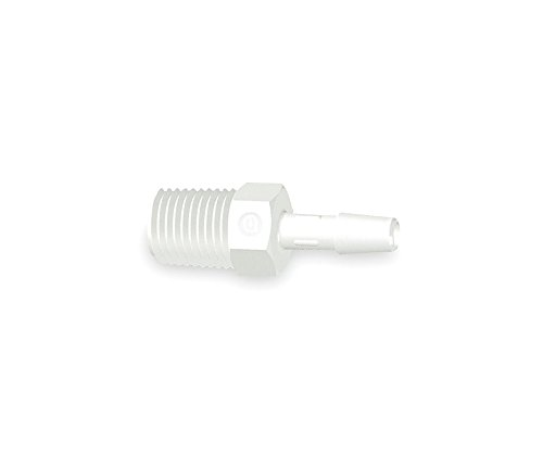 Eldon James A4-8WP White Polypropylene Adapter Fitting, 1/4-18 NPT to 1/2'' Hose Barb (Pack of 10) by Eldon James