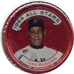 1964 Topps Metal Coins (Baseball) Card# 157 juan marichal of the San Francisco Giants Ex Condition