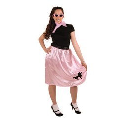[Poodle Skirt (pink w/black poodle) Party Accessory  (1 count) (1/Pkg)] (Kids Rock And Roll Costume)
