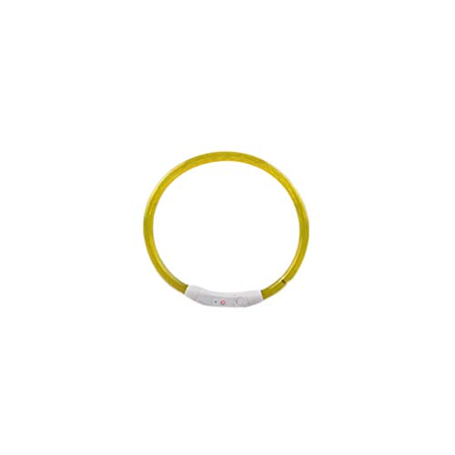 Jesiceeal 35Cm USB Practical Rechargeable USB Waterproof LED Flashing Light Band Safety Pet Dog Collar Adjustable Safety Belt Led Lights Yellow 35cm