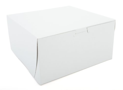 Southern Champion Tray 0941 Premium Clay-Coated Kraft Paperboard White Non-Window Lock Corner Bakery Box, 8'' Length x 8'' Width x 4'' Height (Case of 250) by Southern Champion Tray