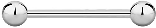 Straight Barbell 14g - 14g 20mm Titanium Straight Barbell Body Piercing Jewelry, 5mm Balls