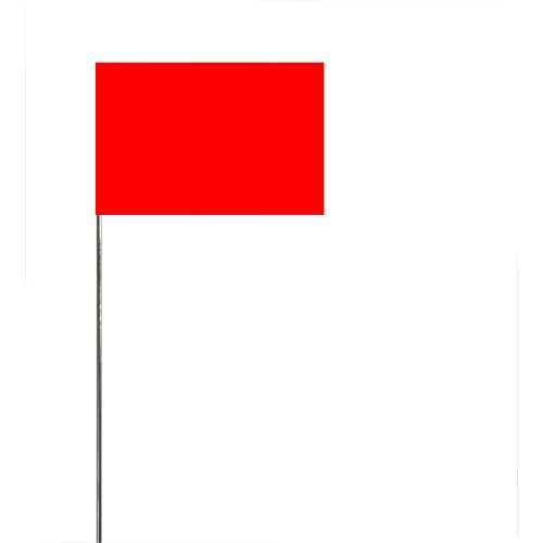 (Swanson FRG21100 2-Inch by 3-Inch Marking Flags with 21-Inch Wire Staffs, Red Glo 100 Pack)