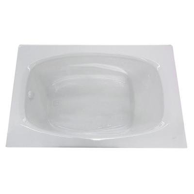 Tiger's Eye 6 ft. Acrylic Center Drain Rectangular Bathtub in White