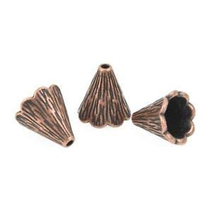 - 10 Copper Bead Cones fits 9mm fin0823 Crafting Key Chain Bracelet Necklace Jewelry Accessories Pendants