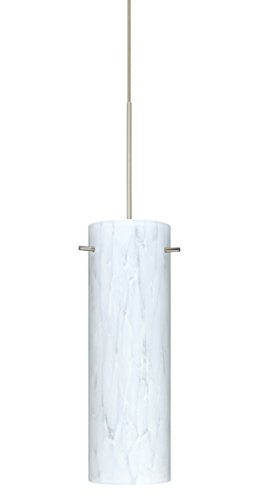 Besa Lighting 1XT-493019-LED Copa 1 Light LED Cord-Hung Mini Pendant with Carrer, Satin Nickel