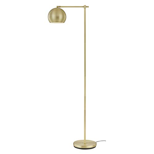Light Society LS-F275-BB Mobley Brushed Brass Floor Lamp with Swivel Globe Shade, Mid Century Modern -