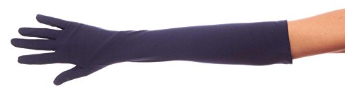 Luxurious Lady Cotton Elbow Length Gloves (Navy Blue, Size B) (Lady In The Navy Gloves)