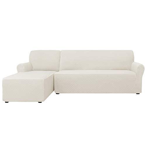 Polyester Sectional Chaise - CHUN YI 2 Pieces Rhombus Jacquard Polyester L Shape Sectional Sofa Cover Stretch Fabric L-Shaped Sectional Couch Covers Dust-Proof Sofa Slipcover Furniture Protector (Left Chaise, Cream White)