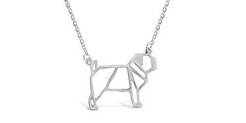 Pug Necklace - Rosa Vila Pug Dog Necklace - Pug Origami Inspired Puppy Necklace (Silver Tone)