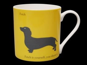 (Large Silhouette Yellow Dachshund Dog Bone China Mug. Fetch.. Fetch It Yourself - Stoke on Trent, England)