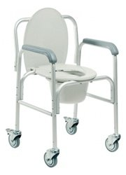 Graham Field Lumex Three-In-One Aluminum Commodes w/ Back Bar and Caster, 2/Ca, GHF2215A-2
