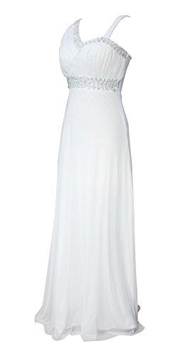 Licoco Women Sleeveless Beaded Semi-Formal Long Maxi Evening Gown Wedding Dress (white37,XLarge)
