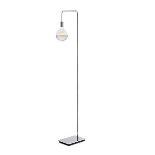 Modern Chrome Floor Lamp, Contemporary Style Reading Light, Plugin, in-line Dimmer Included, ETL Listed, Hoyt Design by Brooklyn Bulb Co. (Switch Dimmer Chrome)