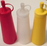 3- Piece Squeeze Dispenser Bottle - Condiments, Sauces, Ketchup, Mayo, Mustar...