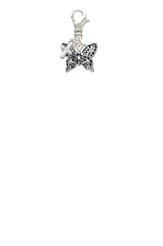 Small Antiqued Crystal Butterfly Mini Cross Clip On (Silver Small Butterfly Charm)