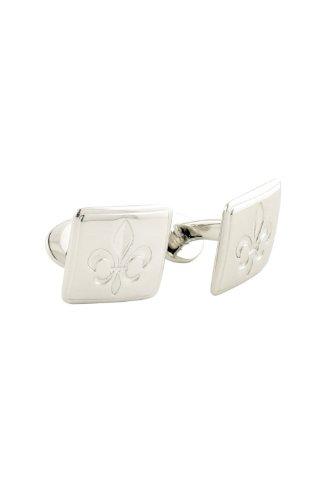 David Donahue Sterling Silver Engraved Fleur de Lis Square Cufflinks (H95004302)