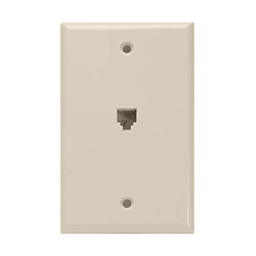 - Leviton 40249-T Standard Telephone Wall Jack, 6P4C, Screw Terminals, Light Almond