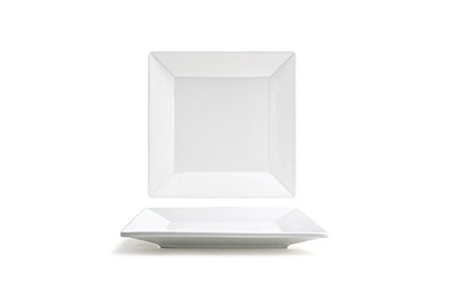 "Front of the House DSP029WHP22 FOH, Square Kyoto Plate, 1"" Height, 7.5"" Width, 7.5"" Length, Bright White (Pack of 6)"