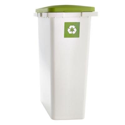 Lakeland Slim Indoor Recycling Indoor Bin, 25L   White U0026 Green