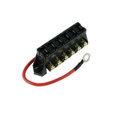 Atc/Ato 6-Way Fuse Block W/ 8 Awg Hot Wire 1 Min (Ganged Fuse Block)