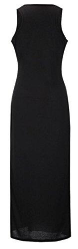 Jaycargogo Femmes Casual Robe Maxi Imprimé Sans Manches Col Ras Du Cou Noir