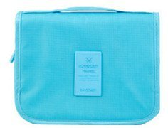 DZYDZR Portable Makeup Pouch Travel Hanging Organizer Bag Toiletry Bag for Women Girls Blue