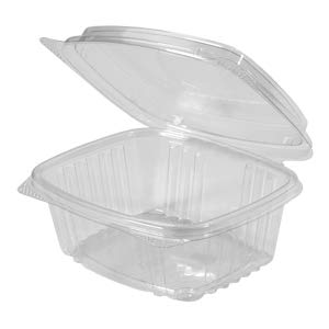 Genpak's AD12F Deli Container | 12 oz Clear Hinged Deli Container- High Dome Lid | Patented 360-Degree Seal, Leak Resistant, Unmatched Clarity | 100% Recyclable, BPA Free, Made in the USA | Case of 200 Containers