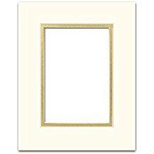 PA Framing Double Photo Mat Board, Pre-Cut Framing Mat - Cream Core, Ivory/Gold, 8