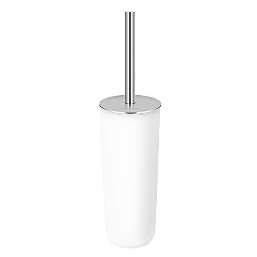 (PIXNOR Toilet Brush with Holder in Attractive Modern Design Stainless Steel 15 Inch Handle. Soft, Dense, Long Bristles Clean Easily (White))
