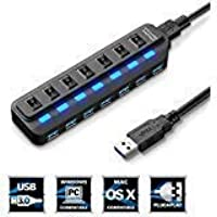 7-Port USB 3.0 Hub, USB Data Splitter [High Speed up to 5Gbps], [Plug & Play], [Individual Power Switch LED] Smartphone, Tablet, PC & Laptop Windows Mac & Video Games - TOBSKBY
