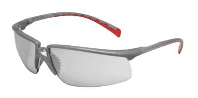 Clear Silver Mirror Lens (3M Privo Safety Glasses With Silver And Red Frame And Clear Polycarbonate Indoor/Outdoor Mirror Lens)
