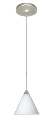 Besa Lighting 1XP-512107-SN Kani Collection 1-Light 12V Mini-Pendant, Satin Nickel Finish with Opal Matte Art Glass Shade