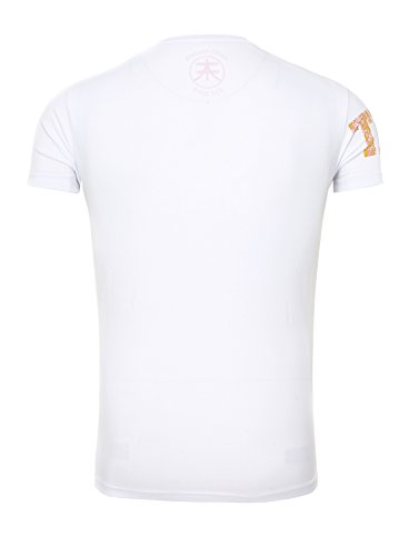 Manche Three Nombre Akito Hommes Tanaka Col Homme Blanc Courte shirt Orange Rond T qw6UX6z